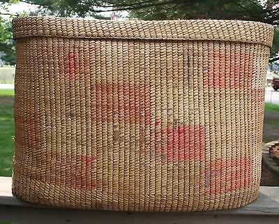 VTG Large Mexican Native American Southwestern Woven Basket With Lid