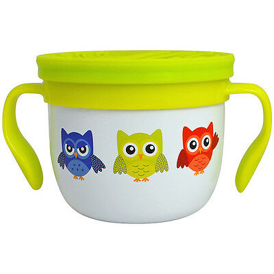Eco Vessel Gobble N Go SS Snack Cup White with Owls