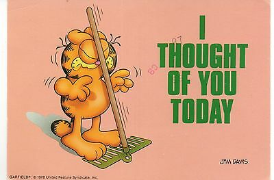Garfield the Cat, I Thought of You Today, Vintage 4 x 6 Postcard, Aug