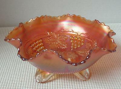 "Northwood 8"" ROUND CRIMPED BOWL Marigold GRAPE & CABLE Carnival Glass Iridescent"