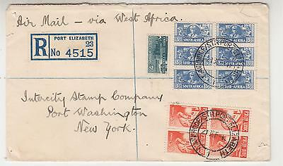 SOUTH AFRICA, 1945 Registered Airmail cover, Bantams to USA via West Africa.