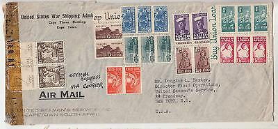 SOUTH AFRICA, c1944 Airmail Censored cover  to USA, Bantams, uncancelled.
