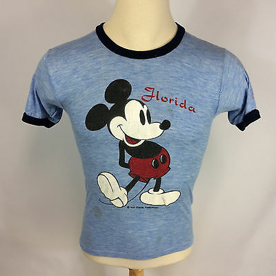 Rare Vintage 70s 80s Thin Mickey Mouse Florida Walt Disney Heather Blue T Shirt