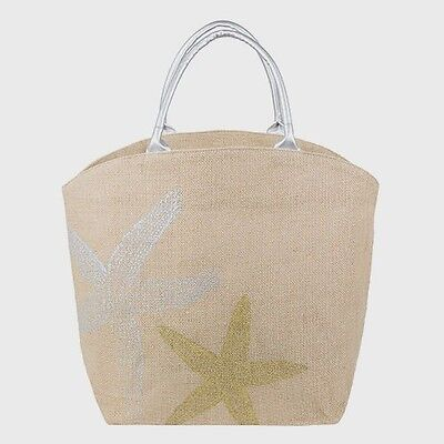 Tri Coastal Starfish Burlap Tote Hand Bag Shoulder Tote Beach Lake Pool Shopping