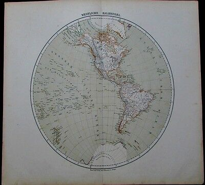 World Hemisphere Southern continent Americas 1875 Flemming scarce antique map