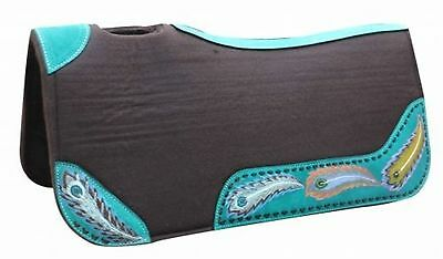 "Showman 31"" x 32"" x 1"" Brown Felt Saddle Pad W/ Hand Painted Peacock Design!"
