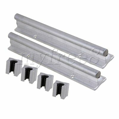 6x Silver CNBTR 12mm Shaft 200mm Linear Bearing Rail w/ Open Linear Motion Block