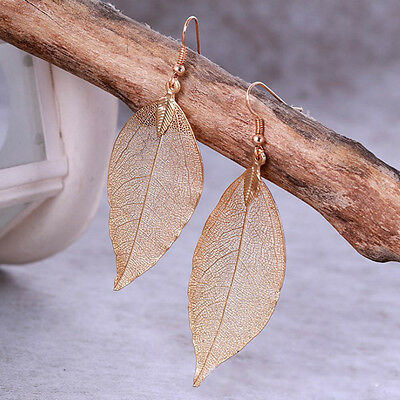 Fashion Jewelry Gold/Silver Plated Dried Leaves Leaf Drop Dangle Earrings Gift