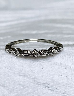 Unique women's New Genuine Diamond crown wedding band ring 9K white gold