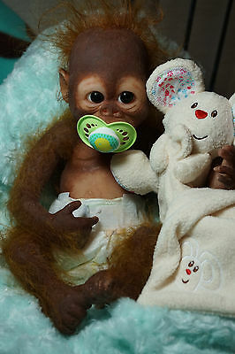 "18"" Full Body Silicone baby doll Heartbeat Orangutan Baby Monkey"