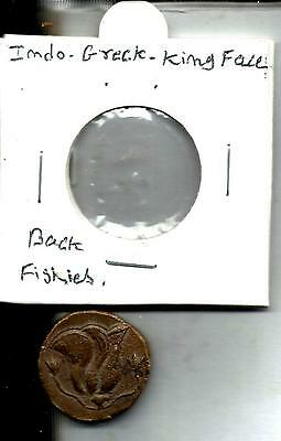Indo-Greek-Fishies Front- Kings Face Back, Rare Copper Coin Very Good Condition.