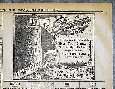 1910 Manchester Newspaper Ad - Portsmouth Breweries Portsburger Lager