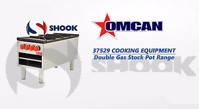 Omcan 37529 Double Stock Pot Hot Plate Gas Range with 200,000 B.T.U 2 bruners NY