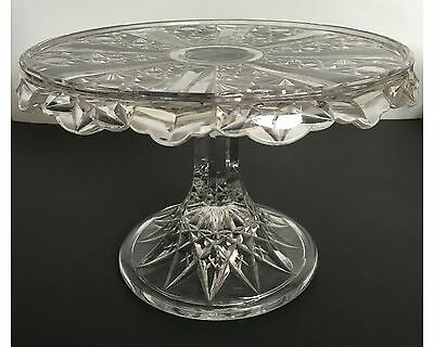 EAPG Fancy Cake Stand Panelled Fans & Buttons Skirted