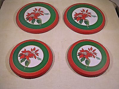"Burner Covers for Electric Stove ""Poinsettia print"", Set of 4, very good cond."