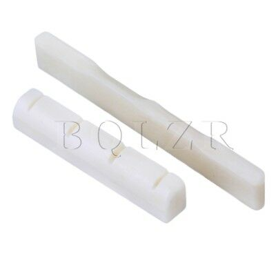 White Cattle Bone Bridge Saddle And Nut for 4 String Electric Guitar