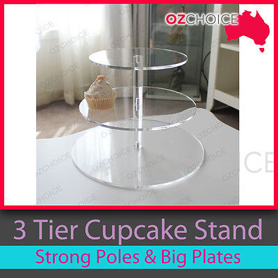 3 Tier Cupcake Stand Clear Hard Acrylic for Wedding or Special Event