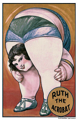 Ruth The Acrobat Carnival Fair Midway Fat Lady Freak Show Retro Poster