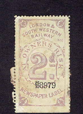 GB London and South Western Railway 2d  parcel stamp