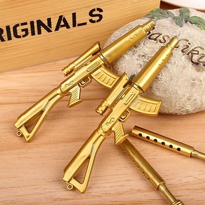 Gold Rifle Shape Black Ink Ballpoint Pen Stationery Office Ball Point Novelty cn