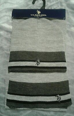 US Polo Association Hat and Scarf Set Brand New!  Black/lt & dk Gray