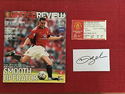 Manchester United v Charlton May 3 2003 Programme, Ticket & Signed Card Beckham
