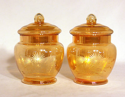 Vintage Gold Coloured and Engraved Floral Design Lidded Jars – Apothecary Jars