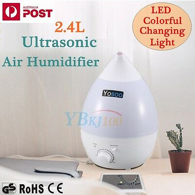 NEW 2.4L Ultrasonic Air Humidifier Steam Aroma Diffuser Purifier Mist LED Light