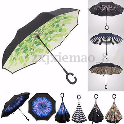 Windproof Upside Down Double Layer Reverse Umbrella C-Handle Inside-Out Inverted