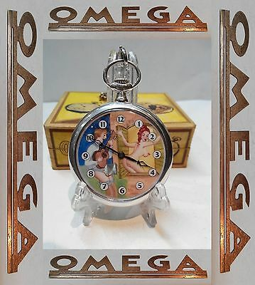 Vintage Erotic Omega .800 Solid Silver Swiss Made Open Face Box Chain
