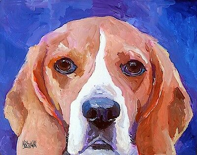 Beagle Dog 11x14 signed art PRINT RJK from painting