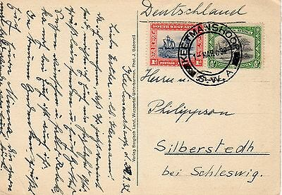 S.W,A. South West Africa-Schleswig 1932 postcard. Sailing ship stamp