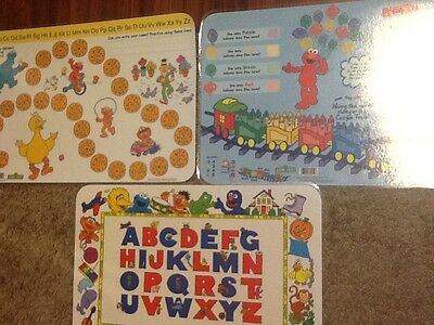 3 Sesame Street Placemats 2 Alphabet Theme 1 Colors, All are Double Sided