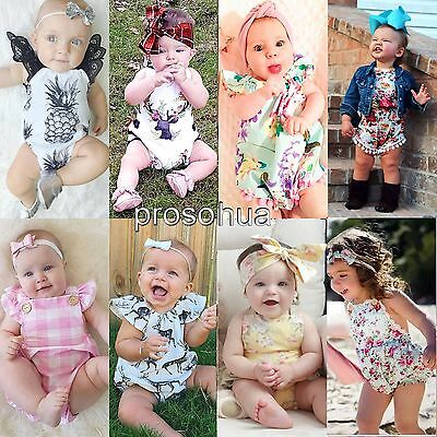 Cute Newborn Toddler Baby Girls Clothes Romper Bodysuit Jumpsuit Outfits Sunsuit
