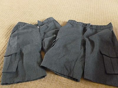 Bundle 3 Pairs Of Boys Grey School Shorts - Age 8-9 Years & 10 Years