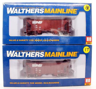 Walthers 'ho' Gauge Pair Of Norfolk Southern 2 Bay Hopper Cars (8P)
