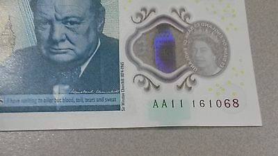 Code Aa11 161068 - New Uncirculated England £5 Five Pound Note