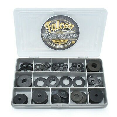 100 Assorted Piece, Black Rubber Form A / Penny Washers M4 M5 M6 M8 M10 M12 Kit