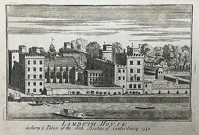 Lambeth House from the Thames - dated 1740 - Etching on laid paper