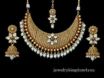 Indian Bridal Jewelry Party Wear Necklace Earrings Kundan Design Bollywood Set I