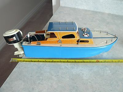 Vintage Battery Operated Toy Boat With Lang Craft Motor ( Working )