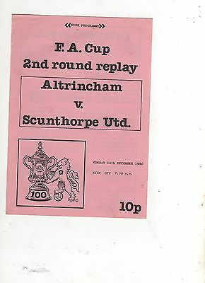 ALTRINCHAM    v SCUNTHORPE UNITED   (FA CUP--2nd Round-Replay) 1980/81