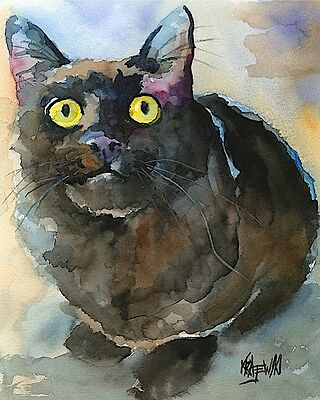 Black Cat 11x14 signed art PRINT from painting RJK