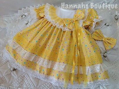 Hannahs Boutique 3-6 Month Baby Frilly Dress & Headband Set Or Reborn Doll