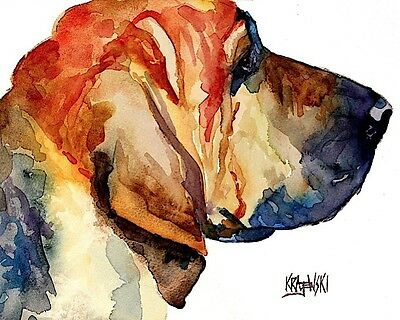 Bloodhound Dog 11x14 signed art PRINT from painting RJK