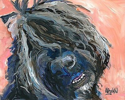 Bouvier Des Flandres Dog 11x14 signed art PRINT Painting RJK