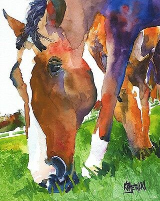 Grazing Horses 11x14 signed art PRINT from watercolor painting RJK
