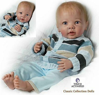 "Ashton Drake ""NOAH""- LIFELIKE ""INTERACTIVE"" BABY BOY DOLL - NEW - IN STOCK NOW !"