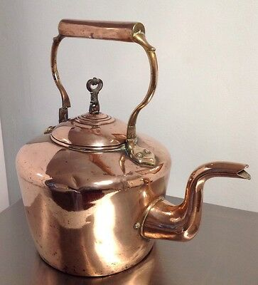 Vintage VICTORIAN 7 OR 8 PINT APPROX Copper / Brass  Kettle SWAN NECK SPOUT