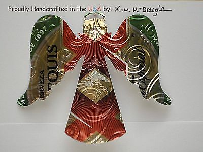 Angel Handmade Christmas Ornament Recycled Aluminum DE Mexican Beer Can Art